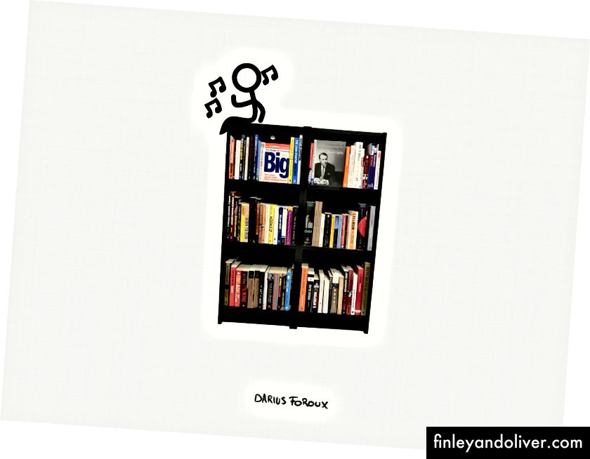 Et bilde av bokhyllen på kontoret mitt.