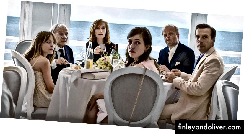 Fantine Harduin, Jean-Louis Trintignant, Isabelle Huppert, Laura Verlinden, Toby Jones og Mathieu Kassovitz i 'Happy End' | © Sony Pictures Classics