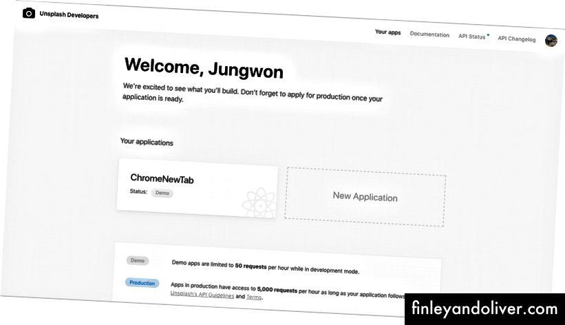 Dengan mengklik 'Aplikasi Baru' Anda dapat mendaftarkan diri Anda.