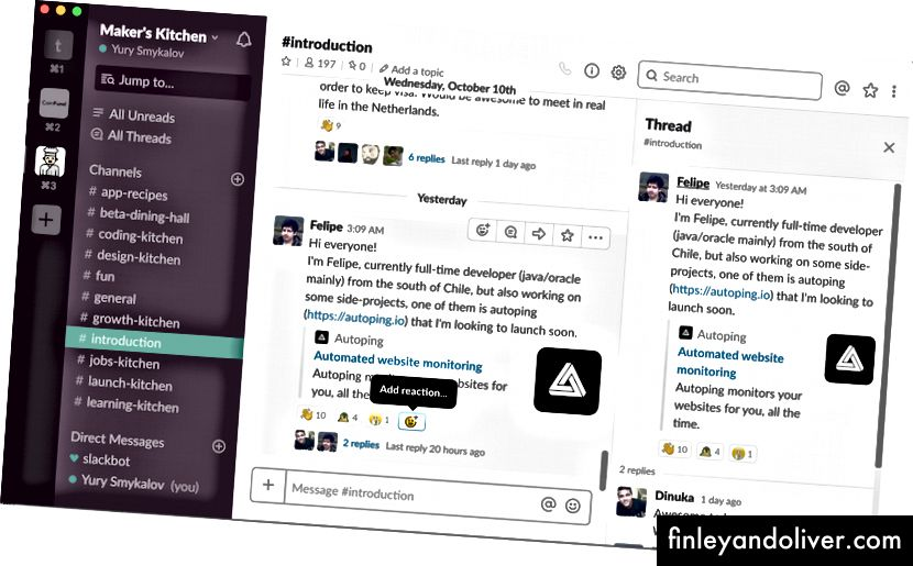 Screenshot van Maker's Kitchen-community in Slack