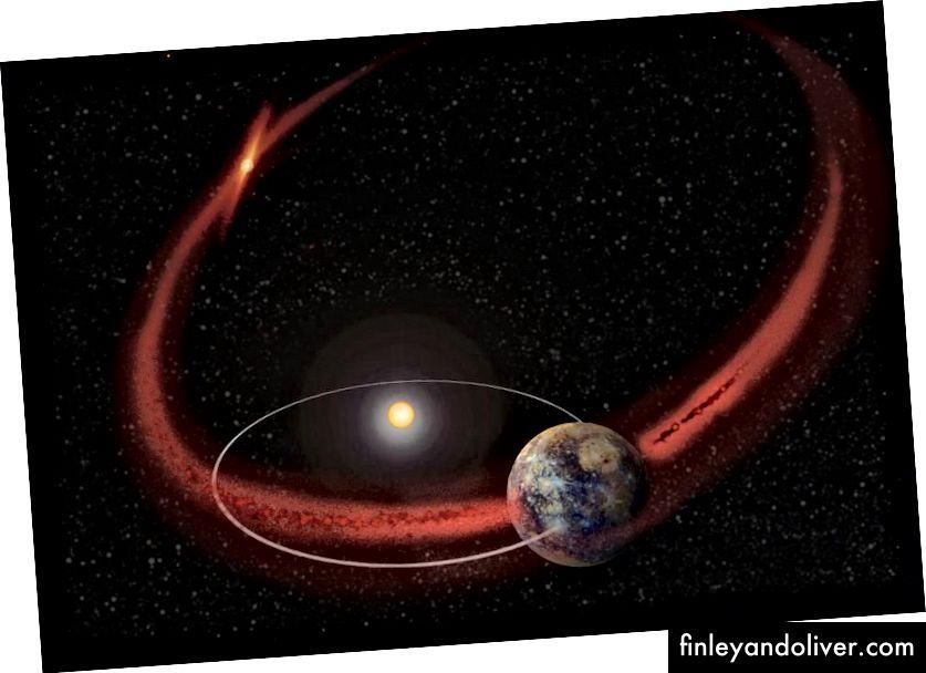 Luồng mảnh vụn của sao chổi (trong hình minh họa này, Comet Encke) rất rộng: rộng hơn nhiều so với Trái đất. Khi chúng tôi ở gần trung tâm Stream, tốc độ của các thiên thạch có thể tăng lên. (NASA / GSFC)