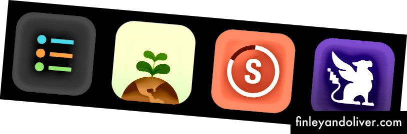 No kreisās uz labo: produktīvā, flora, svītras (4.99) un Habitica.