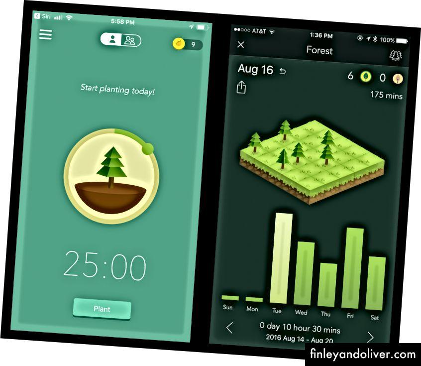 Η εφαρμογή χρονομέτρησης εστίασης για τα δάση μοιράζεται μια παρόμοια έννοια και θέμα με τη Flora. Το δάσος χρησιμοποιεί εικονικά νομίσματα ως ανταμοιβή του χρόνου εστίασής σας. Προτιμώ τη χλωρίδα εν μέρει επειδή οι ανταμοιβές (εικονικά ή πραγματικά δέντρα) είναι πιο απλά και πιο εύκολα.