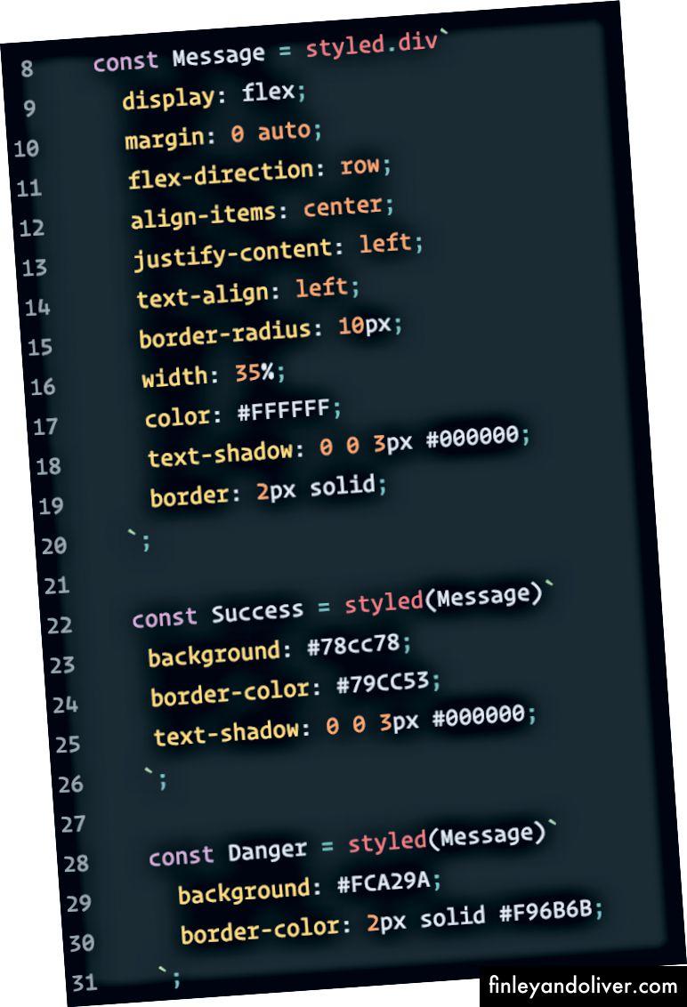 Özel bir tarza sahip bileşen oluşturma, ardından o tarza sahip bileşeni biçimlendirme. Çok fazla stil!