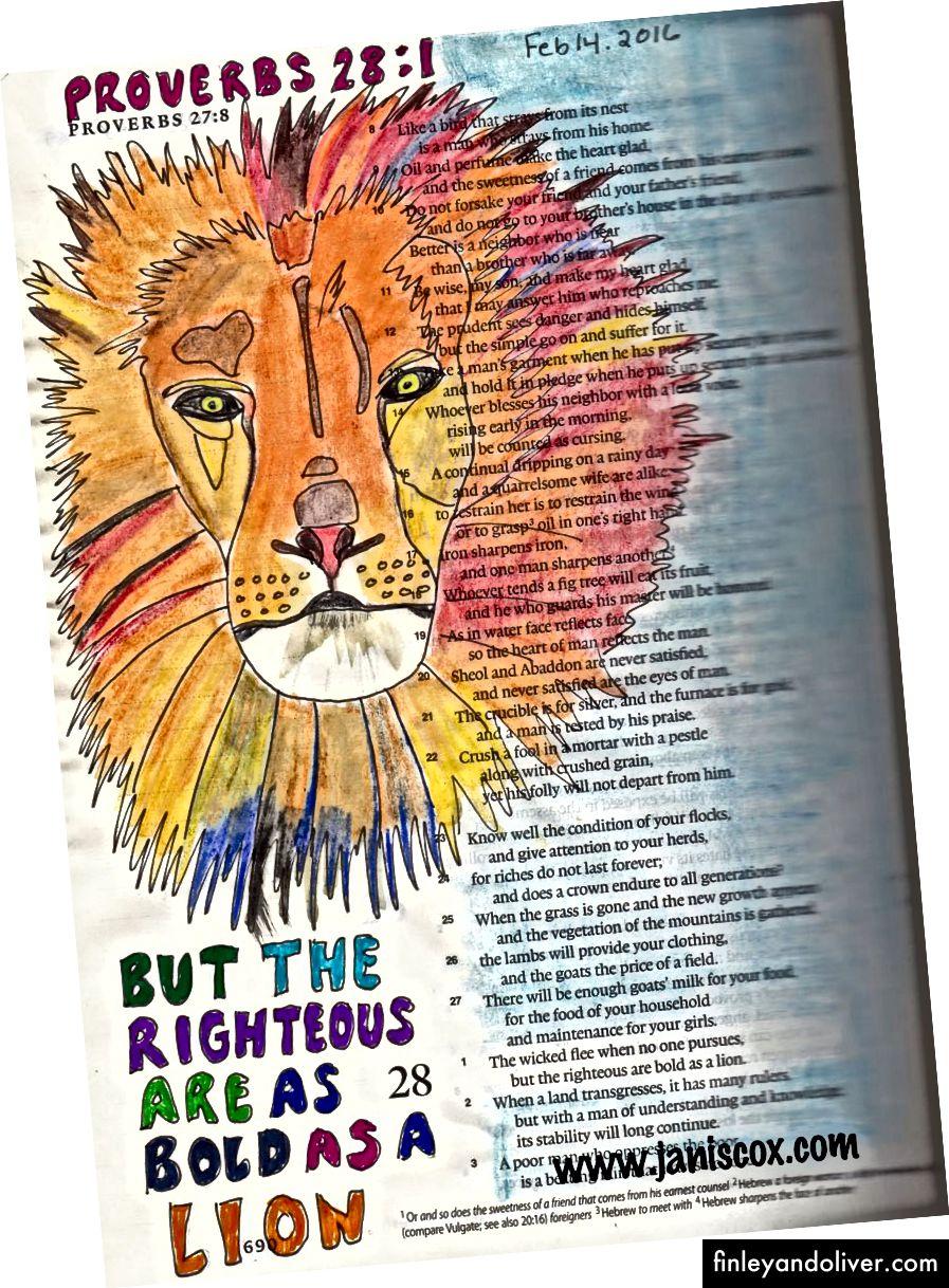 Bana bir LION olarak BOLD olmama hatırlatmak için İncil Journaling.