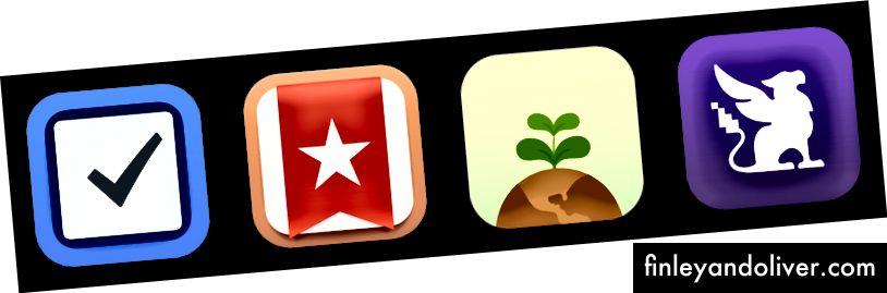 Venstre til høyre: Ting 3 ($ 9.99), Wunderlist, Flora og Habitica.