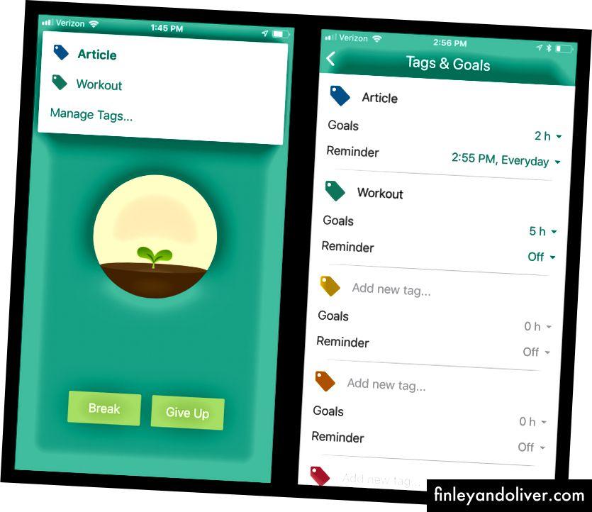 Flora, som fokusfokser, fungerer også som en oppgaveliste-app for å styre tiden din. Appen minner deg om å jobbe mot målene dine, og dens målsporingsfunksjon er fleksibel nok til å imøtekomme både repetisjons- og engangsmål.