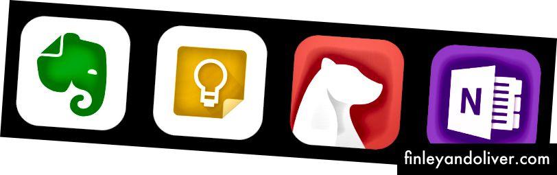 Fra venstre til høyre: Evernote, Google Keep, Bear, Microsoft OneNote