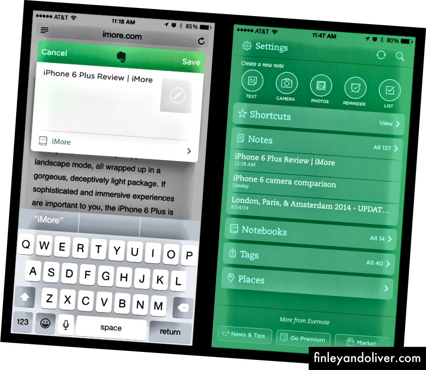 Evernote er en av de mest populære notat-appene med flere plattformer. Alle de integrerte appene og produktene tillater tilpasning som passer enhver situasjon.