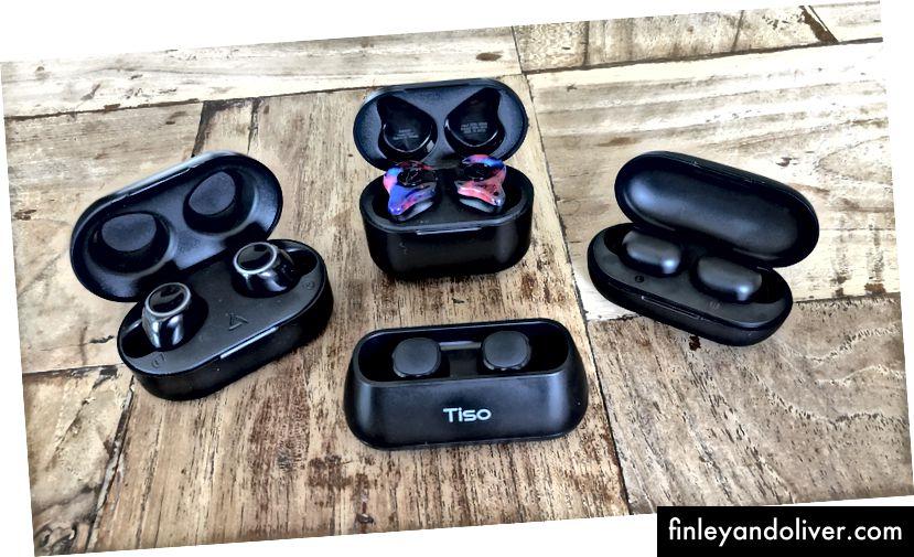 Mpow T6 (зліва), Sabbat X12 Pro (вгорі), Haylou GT1 (праворуч) та Tiso i4 (внизу)
