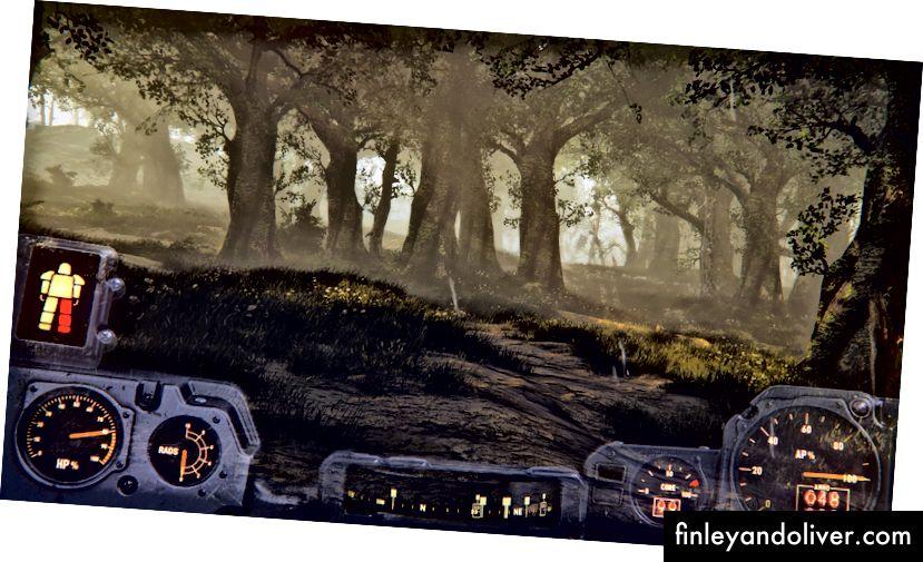 Fallout 4-ning shaffof Power Armor HUD: bu avtomashinaning asboblar paneli, ammo cho'lda juda katta ekzoskelet ichida.