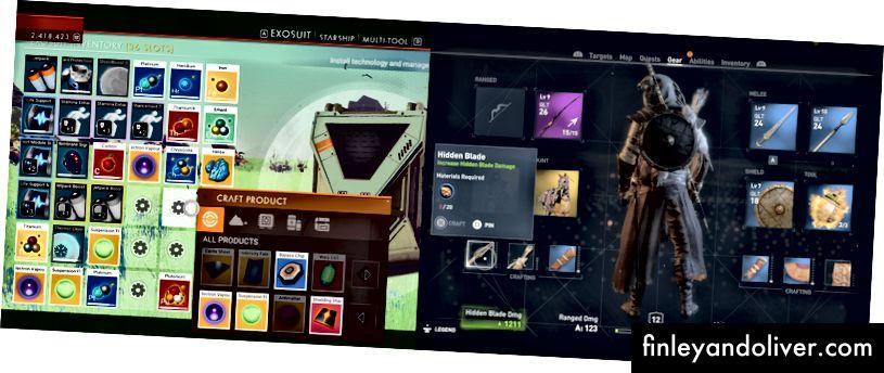 Panjara asosida inventarizatsiyadan kursorsiz (chapda) va Assassin's Creed Origins-da bo'sh joysiz inventarizatsiyaga ega bepul kursor (o'ngda) mavjud emas. RIP Animus.
