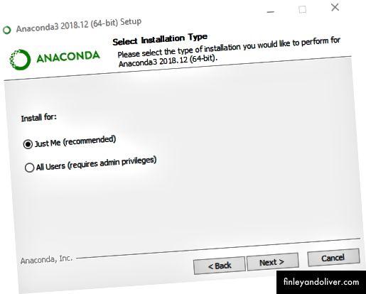 Zorg ervoor dat u Anaconda installeert bij de huidige gebruiker, anders kunt u onderweg problemen tegenkomen.