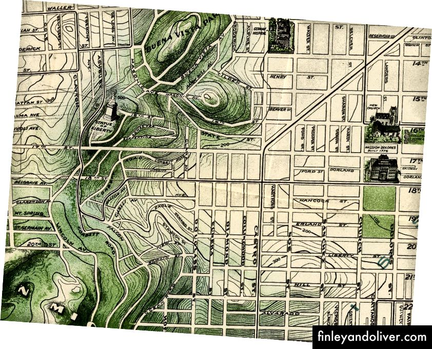 Деталі з карти 1904 року Сан-Франциско через колекцію карт Девіда Румсі