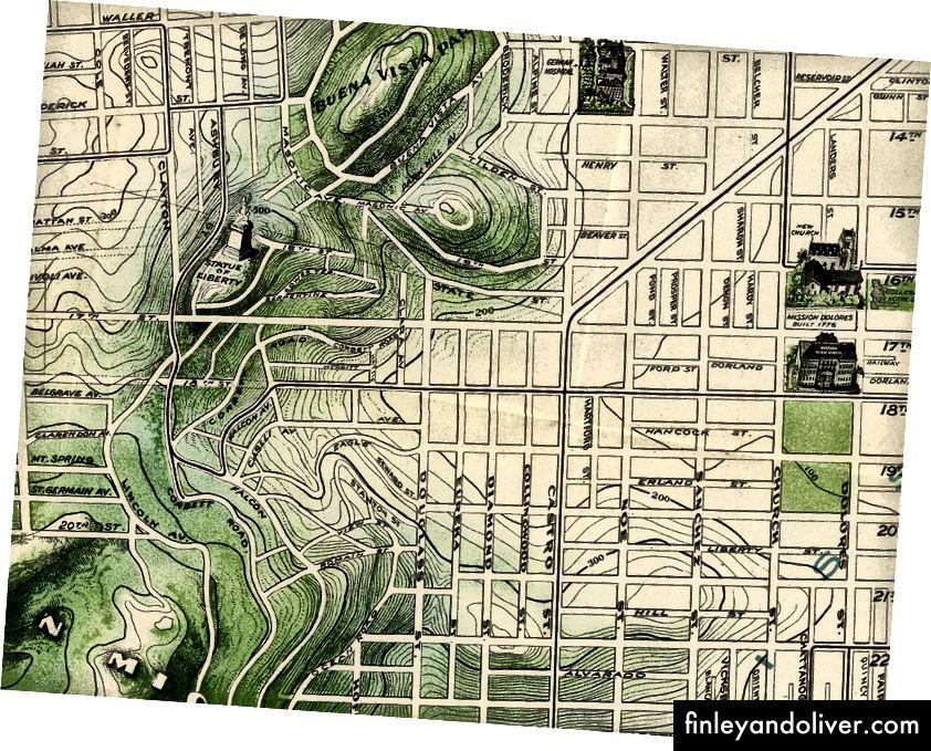 David Rumsey Harita Koleksiyonu ile 1904 San Francisco haritasından detay