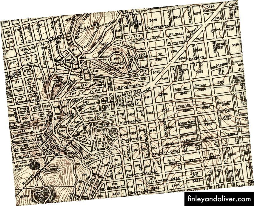 Chi tiết từ các bản đồ 1904, 1915 và 1929 thông qua Bộ sưu tập bản đồ David Rumsey