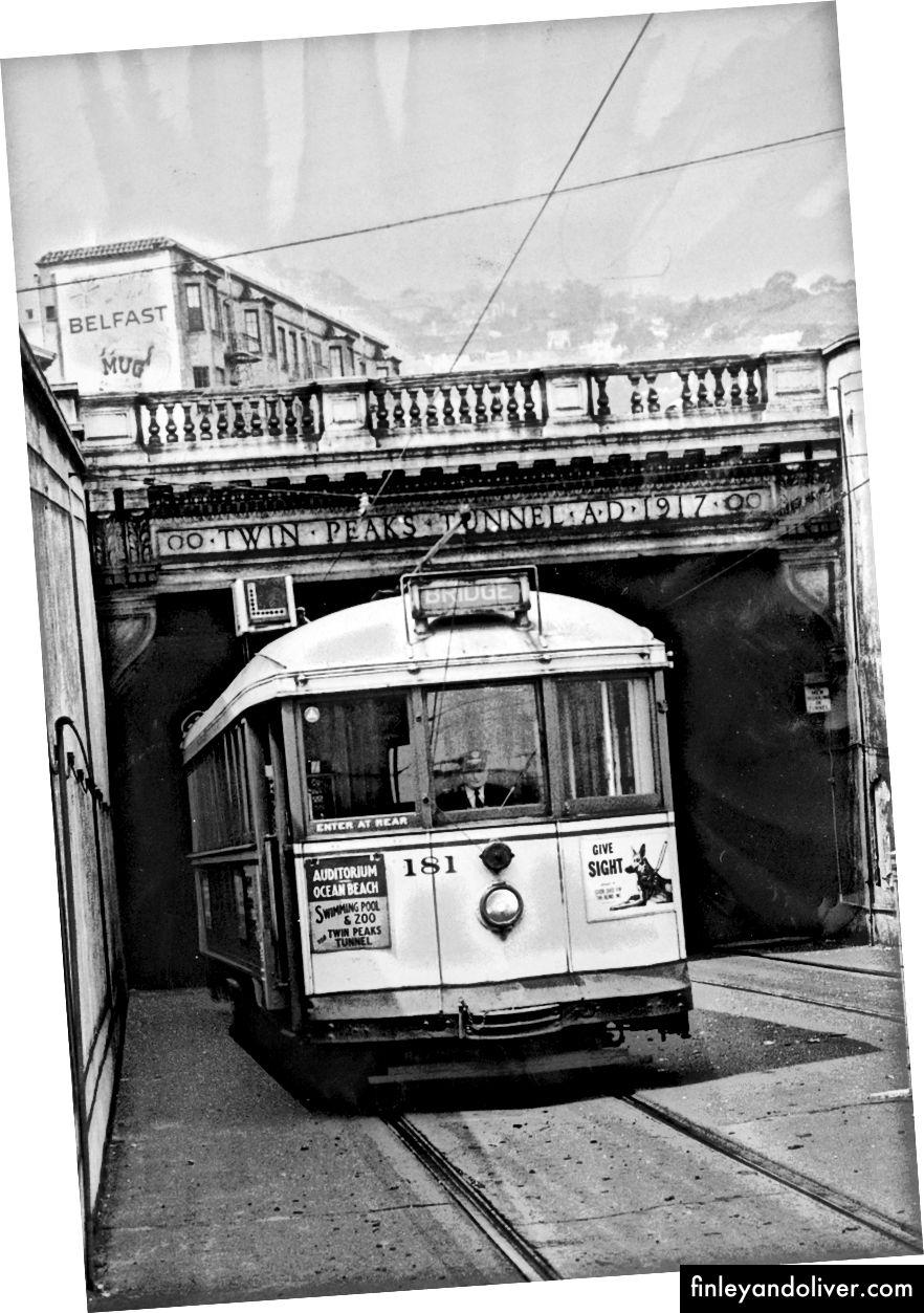 Ảnh chụp ngày 13 tháng 1 năm 1959 · Ảnh lịch sự SFMTA · Ảnh từ ngày 9 tháng 5 năm 1958, Thư viện Bản tin