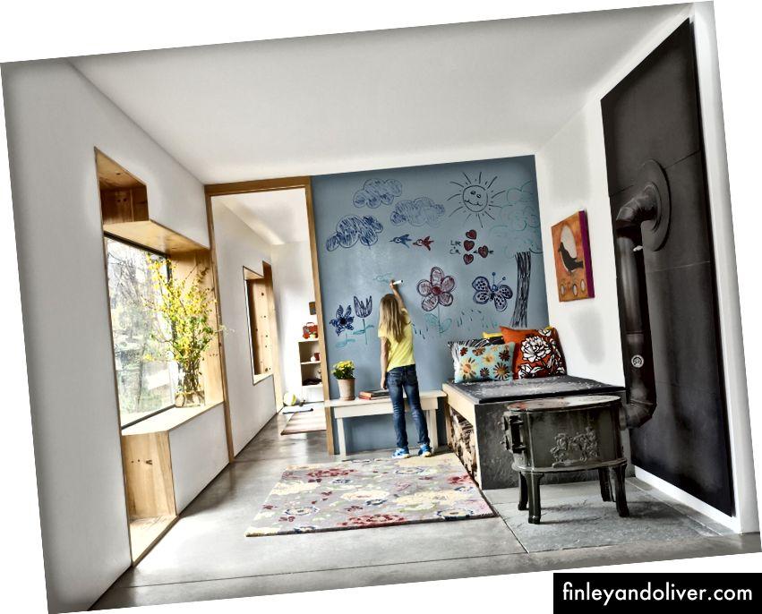 Çizim odası. Kuru silme boya ürünü 2008'e sunuldu. Fotoğraflar, IdeaPaint.