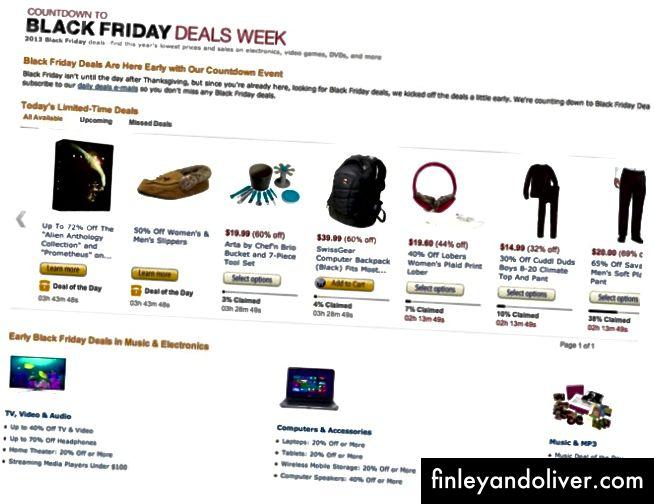 """""""Black Friday-effekt"""" ble sparket inn på Amazon.com noen dager før Black Friday i 2013"""