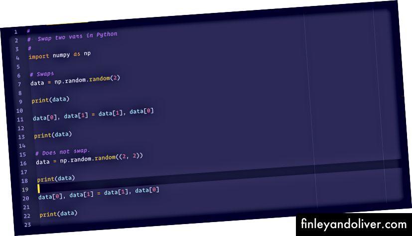 Відтінки синтаксису фіолетового для: Python