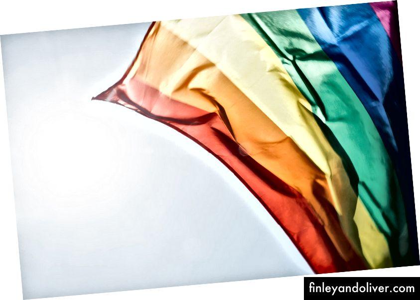 Regenboogvlag die in het zonlicht golft