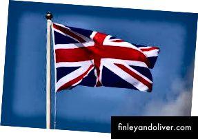 Verenigd Koninkrijk Vlag in de wind.