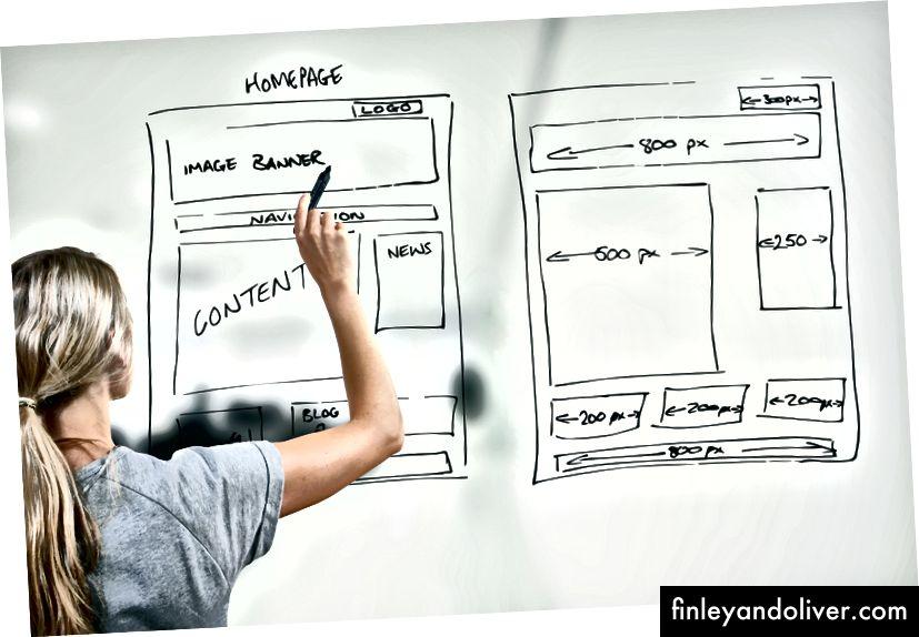 Дизайнерски чертеж на уебсайт за разработка на уеб дизайн © ronstik