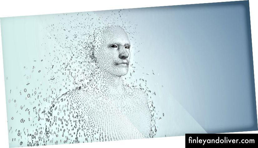 3D бінарний код чоловічої форми на синьому фоні © vectorfusionart