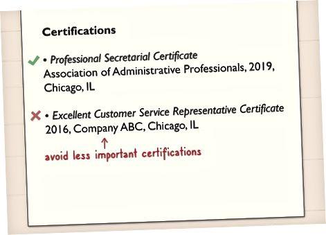 O'zingizning rezyumeingizda sertifikatlaringizni formatlash