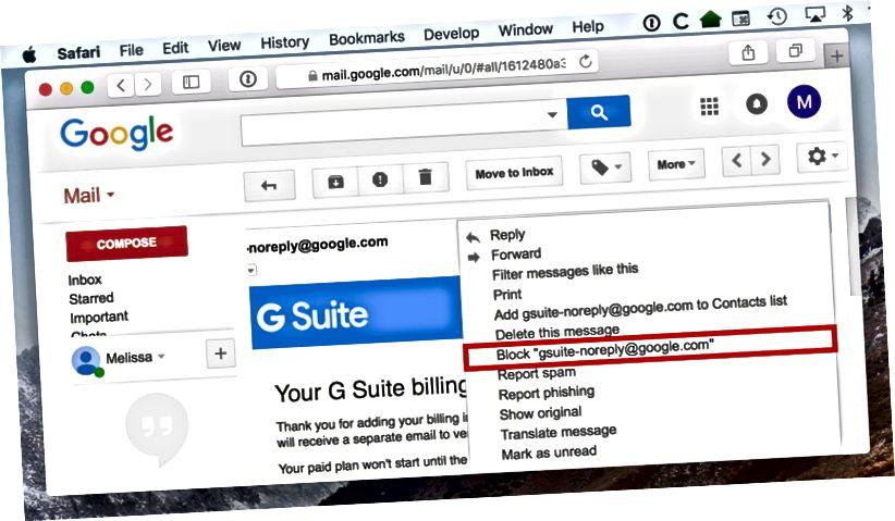gmaili blokeerimise saatja