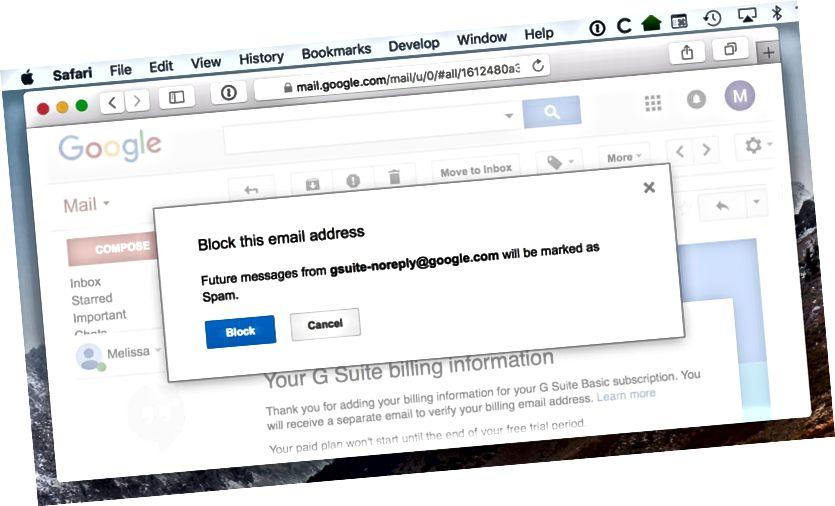 blockera avsändarens gmail