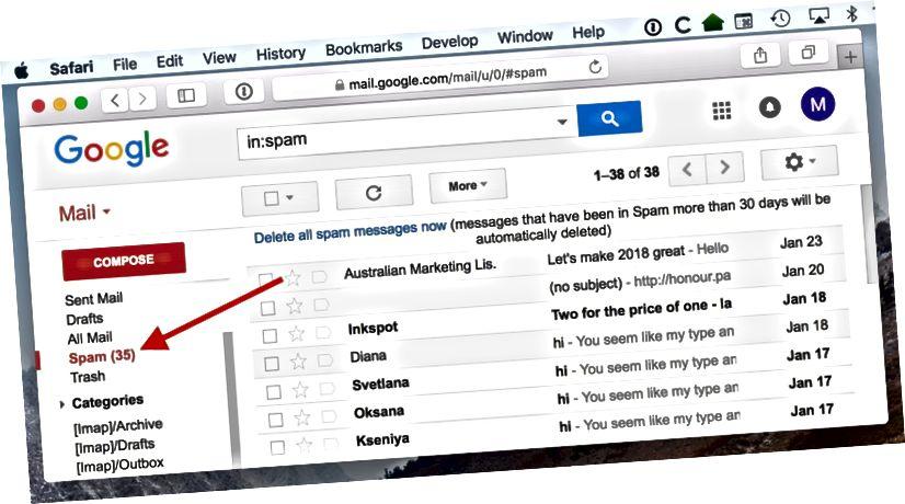 gmaili rämpsposti kaust