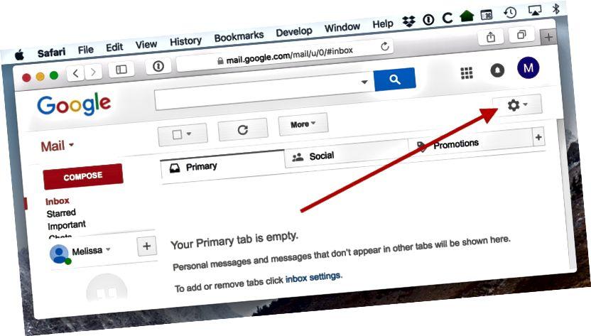 Gmaili seadete jaoks mõeldud hammasrattaikoon