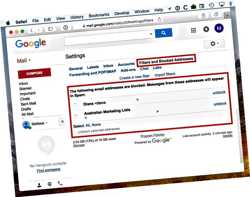 Fliken Filter och blockerade adresser