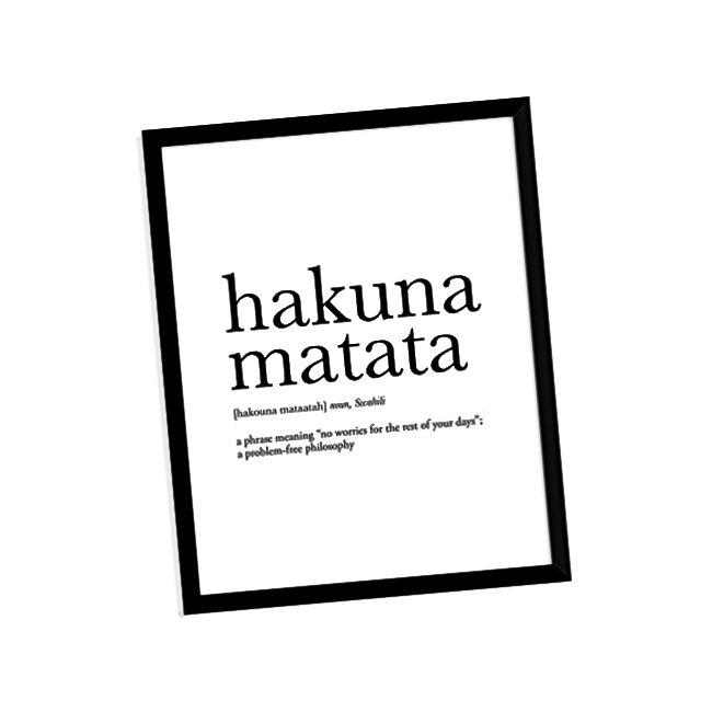 Definicija Hakuna Matata Neokvirni poster za tisak umjetničkih slika