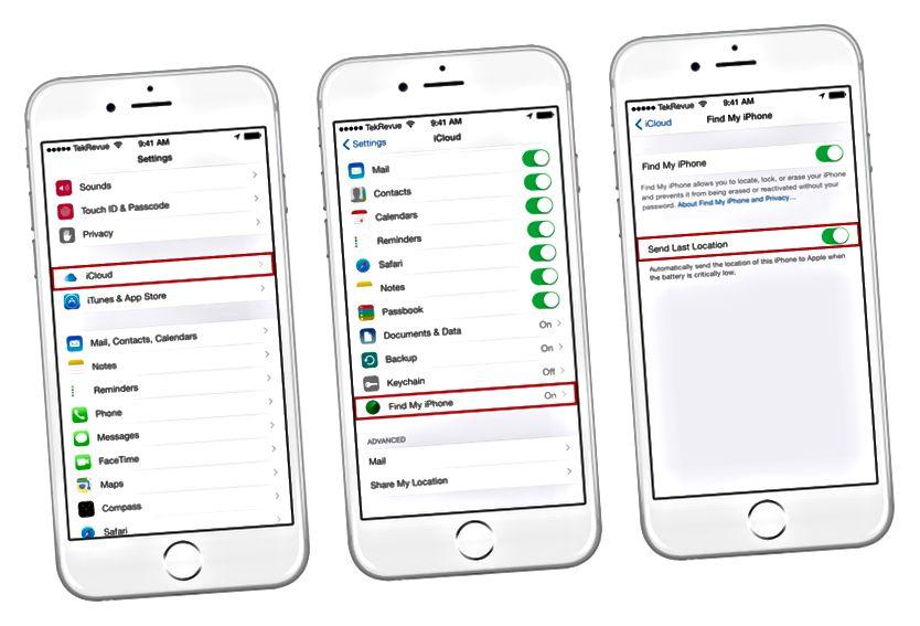 Finndu iPhone minn Senda síðustu staðsetningu