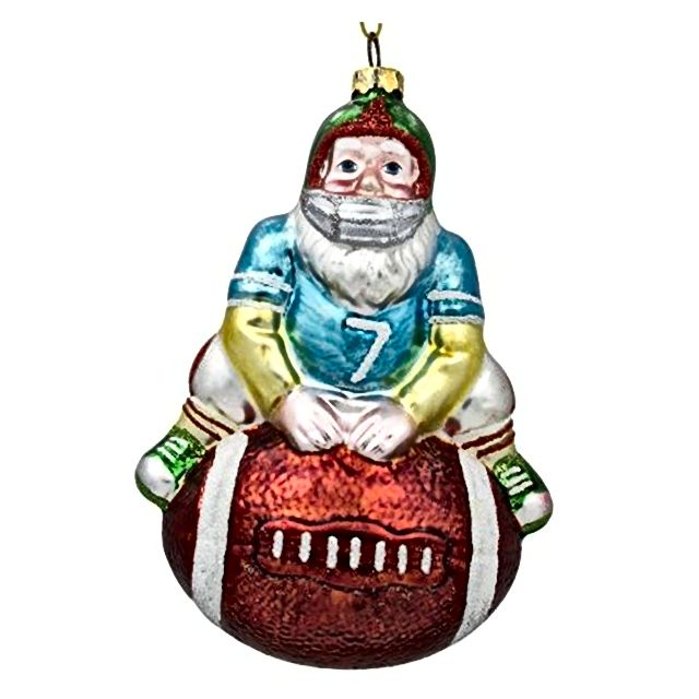 Djed Mraz Nogometni igrač Sportska lopta Staklo Božićni ukras
