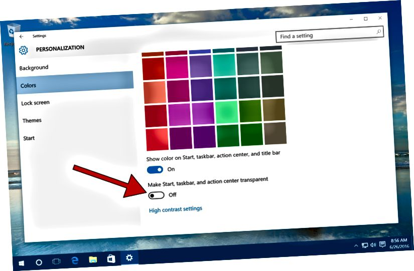 windows 10 gör startfältet transparent