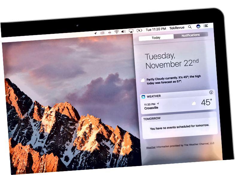 Mac bildiriş mərkəzi hava widget