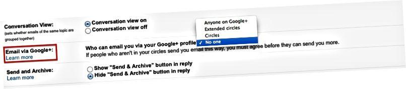 E-posti teel loobumine teenuse Google+ kaudu