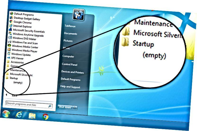 Windows 7 qovluğunu başladın