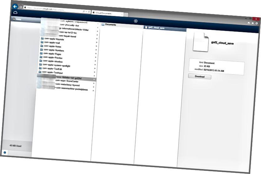 iCloud Developer Portal დოკუმენტების სია