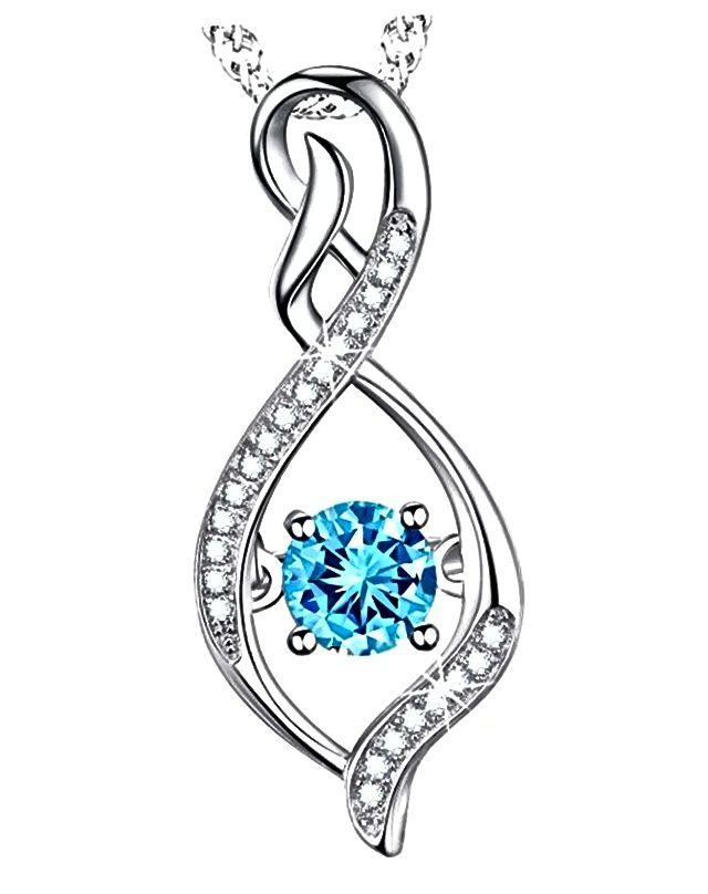 Unendlichkeits-Halskette mit Aquamarin Swarovski Stein
