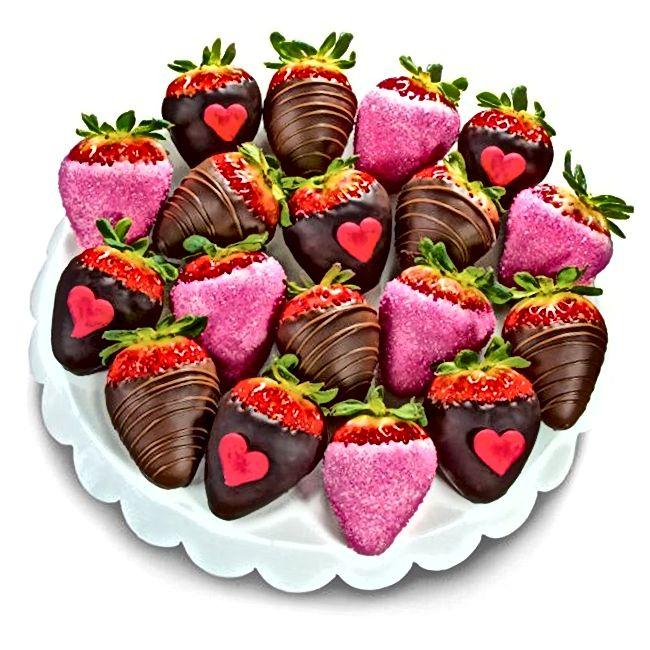 18-teiliges Erdbeer-Set mit Schokoladenüberzug