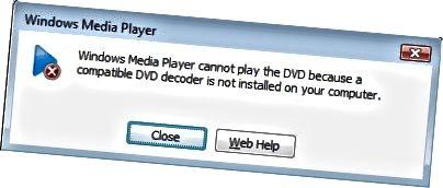 Vandamál Windows Media Player DVD afkóða
