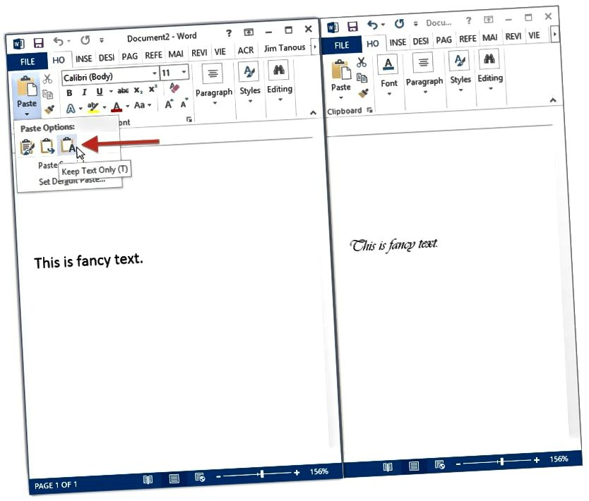 Hvernig á að líma venjulegan texta sjálfgefið í Microsoft Word 2013