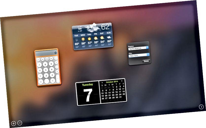 OS X యోస్మైట్ డాష్బోర్డ్ అంతరిక్షంగా