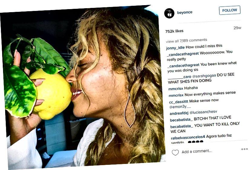 Screenshot vum Beyoncé's Instagram Post vun hatt mat enger Zitroun. (Fans an de Kommentarer goufe gerëselt)