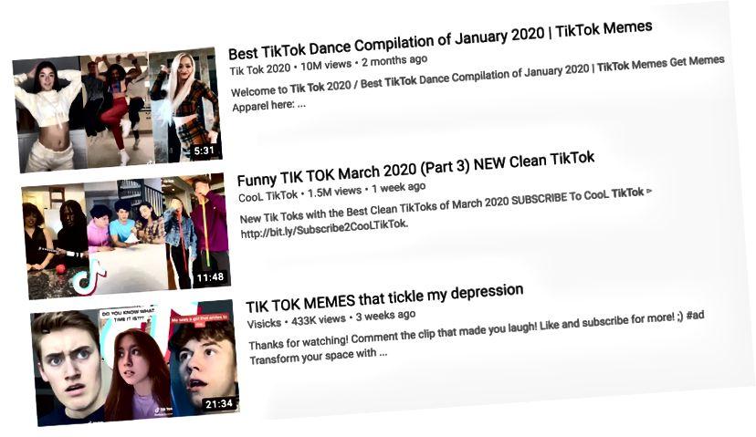 TikTok videozapisi na Youtubeu