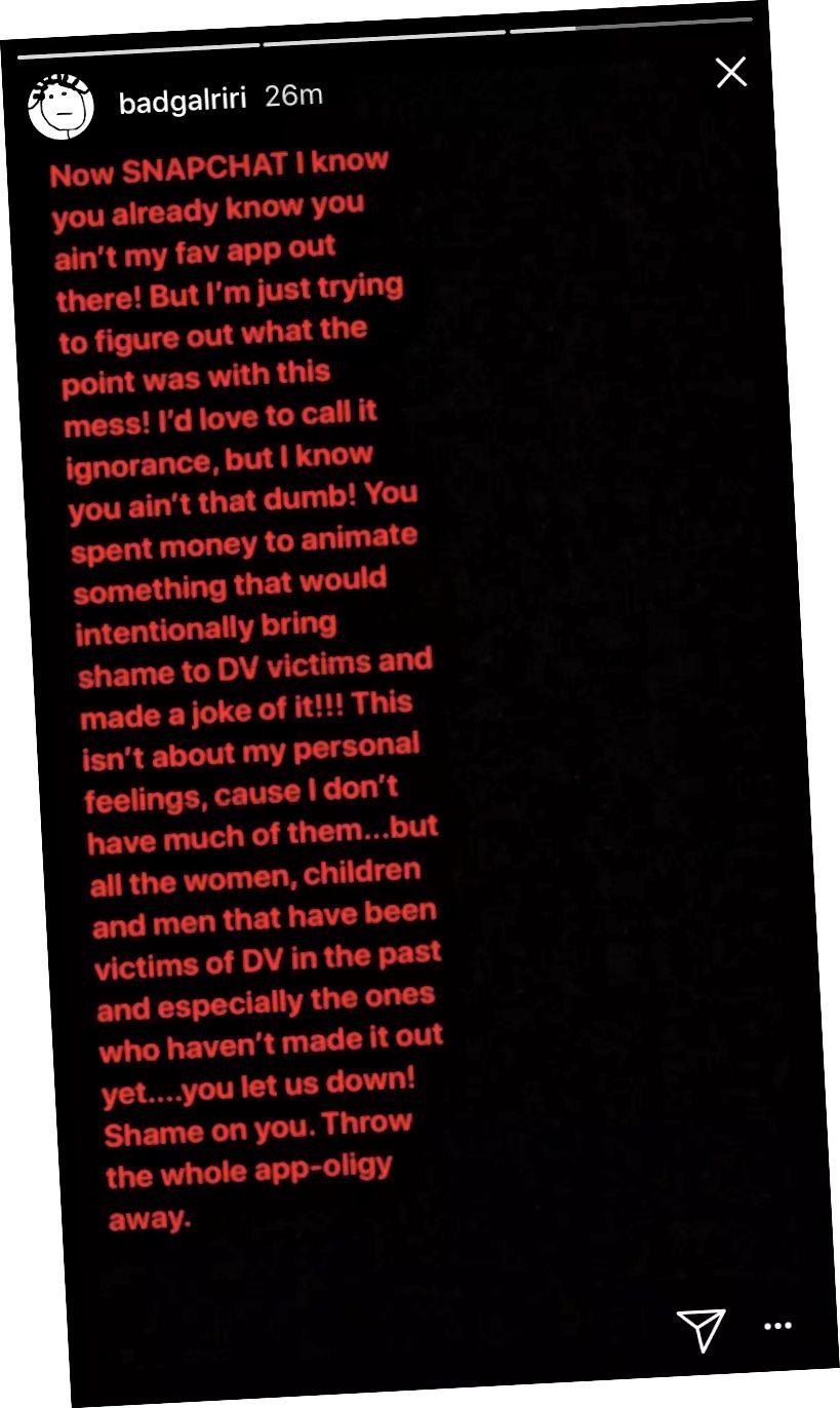 Reklama cavab olaraq Rihannanın İnstaqram hekayəsindən bir görüntü. Liao, 2018.